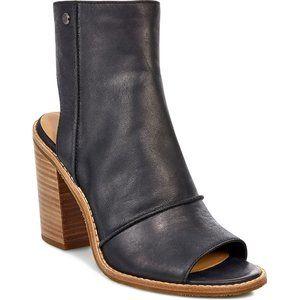 UGG black leather peep toe Valencia booties